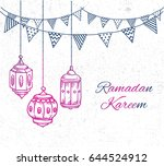 ramadan greeting card with hand ...   Shutterstock .eps vector #644524912
