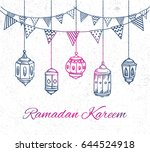 ramadan greeting card with hand ... | Shutterstock .eps vector #644524918