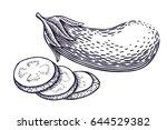hand drawn eggplant... | Shutterstock .eps vector #644529382