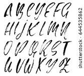 hand drawn dry brush font.... | Shutterstock .eps vector #644535862