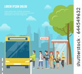 flat young people entering bus... | Shutterstock .eps vector #644549632