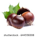 Chestnuts On White Background.