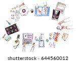 top view of doctor and nurse... | Shutterstock . vector #644560012