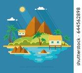 summer paradise ocean landscape.... | Shutterstock .eps vector #644562898