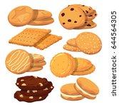 different cookies in cartoon... | Shutterstock .eps vector #644564305
