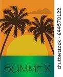 beautiful summer poster of an... | Shutterstock .eps vector #644570122