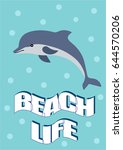 beautiful summer poster of a... | Shutterstock .eps vector #644570206