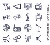 broadcast icons set. set of 16... | Shutterstock .eps vector #644575012