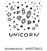 unicorn. text message. funny... | Shutterstock .eps vector #644575612