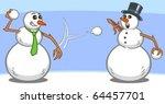 Two Snowmen Having A Snowball...