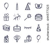 birthday icons set. set of 16... | Shutterstock .eps vector #644577325