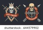 skulls on shield logos of skull ... | Shutterstock .eps vector #644579902