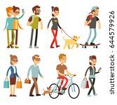 walking people. human persons... | Shutterstock .eps vector #644579926