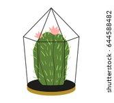 cactus in pot  flat design... | Shutterstock .eps vector #644588482