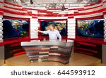 weather forecast. a television... | Shutterstock . vector #644593912