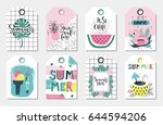 summer gift tags and labels... | Shutterstock .eps vector #644594206