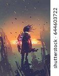sci fi concept of the man with...   Shutterstock . vector #644603722