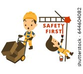 set of construction worker ... | Shutterstock .eps vector #644604082