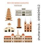 saigon vietnam landmarks... | Shutterstock .eps vector #644604412