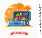 summer suitcase full of... | Shutterstock .eps vector #644606116