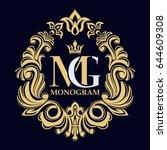 vintage golden vector monogram. ... | Shutterstock .eps vector #644609308