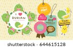 cute durian tag labels vector.... | Shutterstock .eps vector #644615128