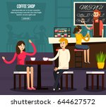 colored cafe worker flat... | Shutterstock .eps vector #644627572