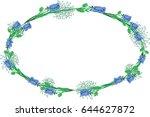oval flowers border  | Shutterstock .eps vector #644627872
