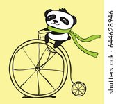 vector card with doodle panda... | Shutterstock .eps vector #644628946