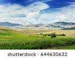 wind generator turbine and blue ... | Shutterstock . vector #644630632