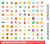 100 excellence icons set in... | Shutterstock .eps vector #644632165