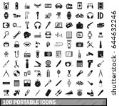 100 portable icons set in... | Shutterstock .eps vector #644632246