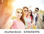 happy young group friends ... | Shutterstock . vector #644646496