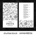 italian pasta restaurant vector ... | Shutterstock .eps vector #644648836