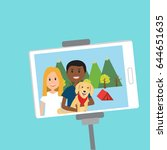 people in generation z selfie... | Shutterstock .eps vector #644651635