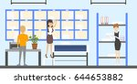 post office interior. | Shutterstock .eps vector #644653882