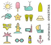 outline icons with summer sign. ...   Shutterstock .eps vector #644659366
