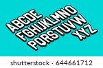 3d retro font vector aphabet.  | Shutterstock .eps vector #644661712