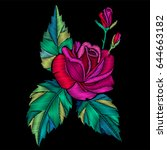 embroidery red rose with leaves ... | Shutterstock .eps vector #644663182