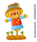 the scarecrow is standing in a... | Shutterstock .eps vector #644666902