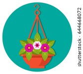 hanging flower basket with... | Shutterstock .eps vector #644668072