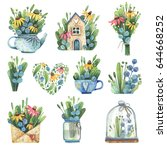 set of watercolor elements with ... | Shutterstock . vector #644668252