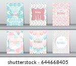 set of birthday card on retro... | Shutterstock .eps vector #644668405