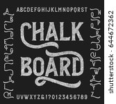 chalk board alphabet font with... | Shutterstock .eps vector #644672362