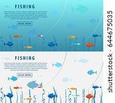 fishing banner. fishing concept.... | Shutterstock .eps vector #644675035