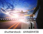 traveling man and luggage back... | Shutterstock . vector #644684458