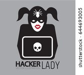 girl hacker icon with laptop ... | Shutterstock .eps vector #644693005