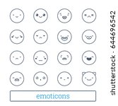 cute emoticons thin line icons. ... | Shutterstock .eps vector #644696542