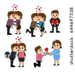 cartoon vector valentine's day... | Shutterstock .eps vector #644697538