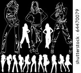 a lot of vector silhouettes of... | Shutterstock .eps vector #64470079
